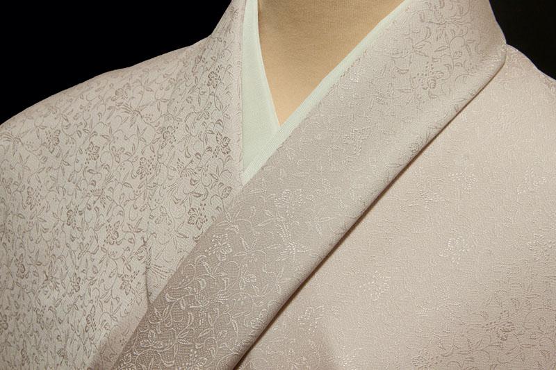 色無地 特選6Aシルク 紋意匠 桐竹鳳凰文 灰桜3【反物1反・正絹胴裏1枚・正絹共色別八掛1枚のセット】