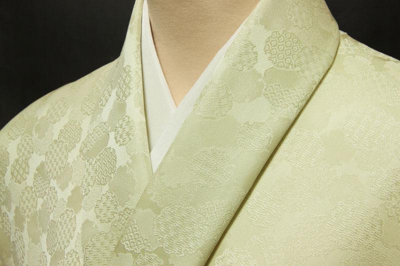 【良好品】 色無地 紋意匠 雪輪文 薄鶸茶 AB反, TREND-I b5e33a0a