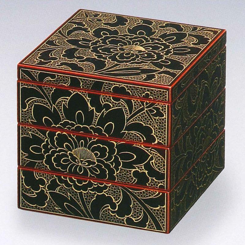 【お取り寄せ】 ボタン彫姫重箱  [重箱・お重・越前漆器・本漆・KORINDO・光琳堂]