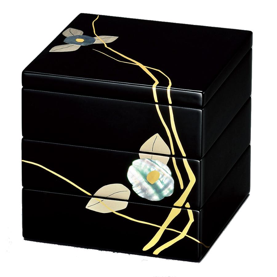 【お取り寄せ】 貝椿 三段重  [重箱・お重・越前漆器・本漆・KORINDO・光琳堂]
