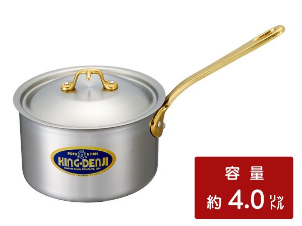 キングデンジ 片手鍋(ソースパン) 21cm  [業務用ステンレス鍋・目盛付]