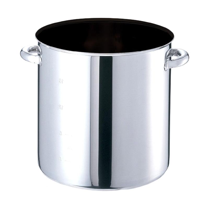日本製業務用鍋 IH対応 モリブデンジIIPLUS 直送商品 ノンスティック加工寸胴鍋 蓋無 EBM 28L 33cm 8688510 目盛付 実物