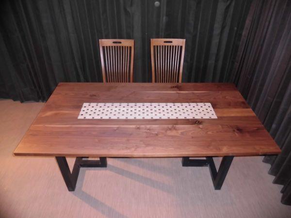 Z-050 D◆ウォールナット デザインテーブル 長さ140cm テーブル ローテーブル ダイニング ダイニングテーブル 座卓 天板 無垢一枚板
