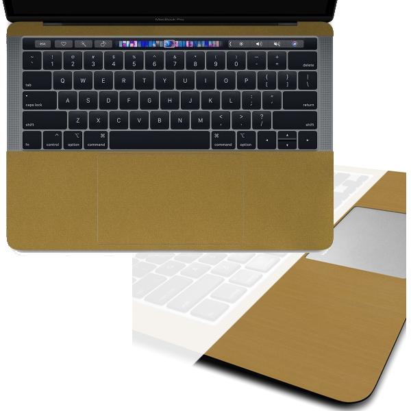 【ネコポス送料無料】MacBook Pro with Touch Barのパームレストの手汗汚れ、傷、ヒンヤリ感をお洒落に解決!【13インチ メタル調プレミアムスキンシール】【ブラッシュドゴールド】