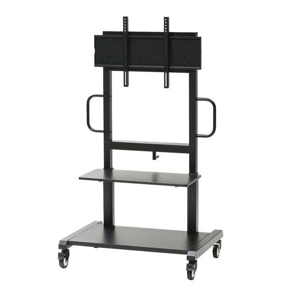 【送料無料】 SANWA SUPPLY(サンワサプライ) 55~65型対応手動上下昇降液晶ディスプレイスタンド CR-PL102SCBKハンドル ディスプレイ 高さ調節 手動 昇降 ディスプレイスタンド 揺れ軽減 電子黒板 DVDプレイヤー 機器設置 棚板 安全 R加工 3段階 高さ調節 キャスター