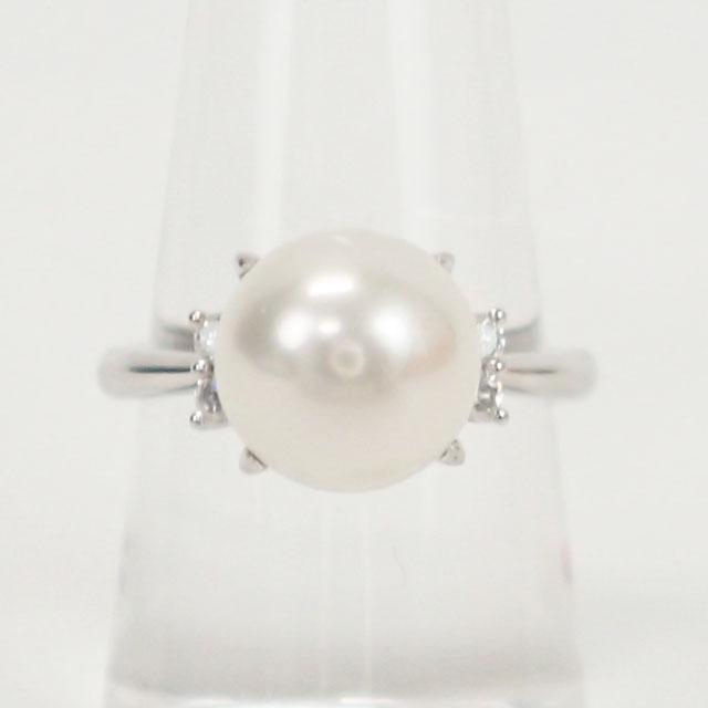 【中古】【辛口評価】【Aランク】Pt900 デザインリング パール 9.4mm ダイヤ 0.13ct ゲージ棒11号