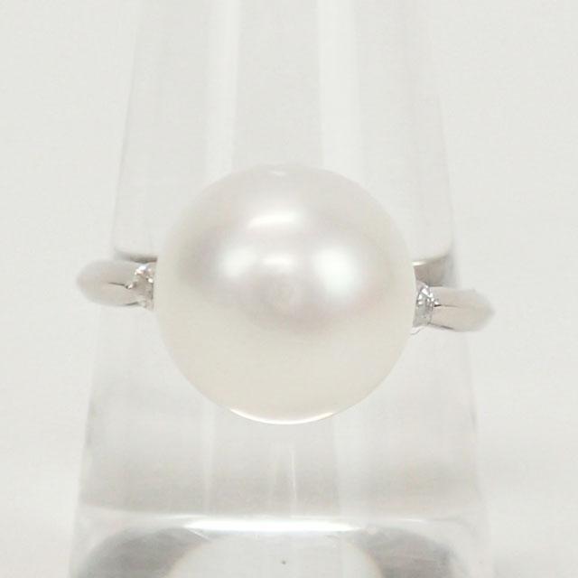 【中古】【辛口評価】【Aランク】Pt900 デザインリング パール 8.0mm ダイヤ 0.10ct ゲージ棒14号