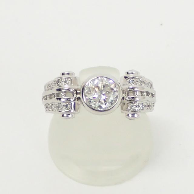 【中古】【辛口評価】【Aランク】Pt900 デザインリング ダイヤ 1.006ct/028ct ゲージ棒約10号