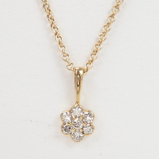 【中古】【辛口評価】【Aランク】K18YG フラワーモチーフ ネックレス ダイヤ 1.01ct