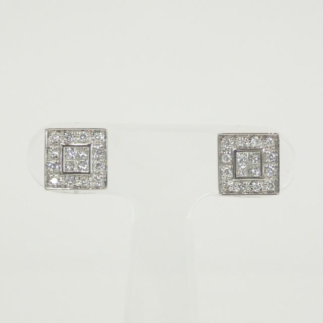 【中古】【辛口評価】【Aランク】Pt900/850 スクエアモチーフ デザインピアス ダイヤ0.37ct/0.37ct