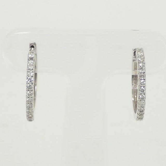【中古】【辛口評価】【Nランク】K18WG フープピアス デザインピアス ダイヤ 0.25ct/0.25ct