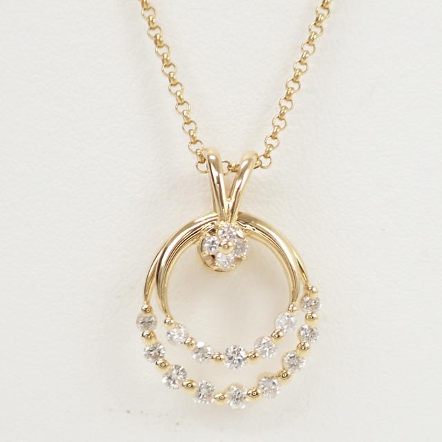 【中古】【辛口評価】【Aランク】K18YG サークルモチーフ デザインネックレス ダイヤ 0.77ct