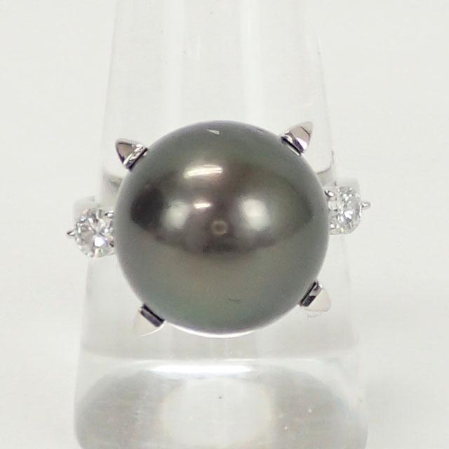 【中古】【辛口評価】【Aランク】TASAKI タサキ Pt900 リング パール 13.5mm ダイヤ 0.23ct ゲージ棒約14号