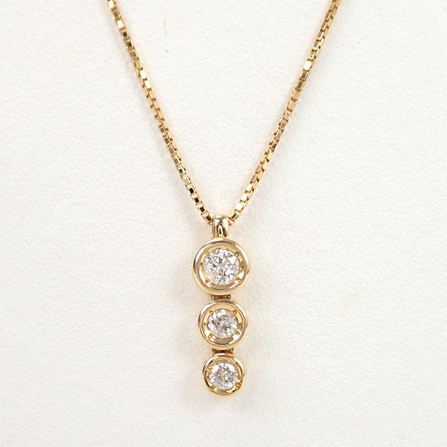 【中古】【辛口評価】【Aランク】K18YG サークルモチーフ デザインネックレス ダイヤ 0.54ct