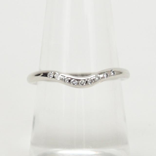 【中古】【辛口評価】【Aランク】Tiffany&Co. ティファニー Pt950 カーブドバンドリング ダイヤ ゲージ棒11号