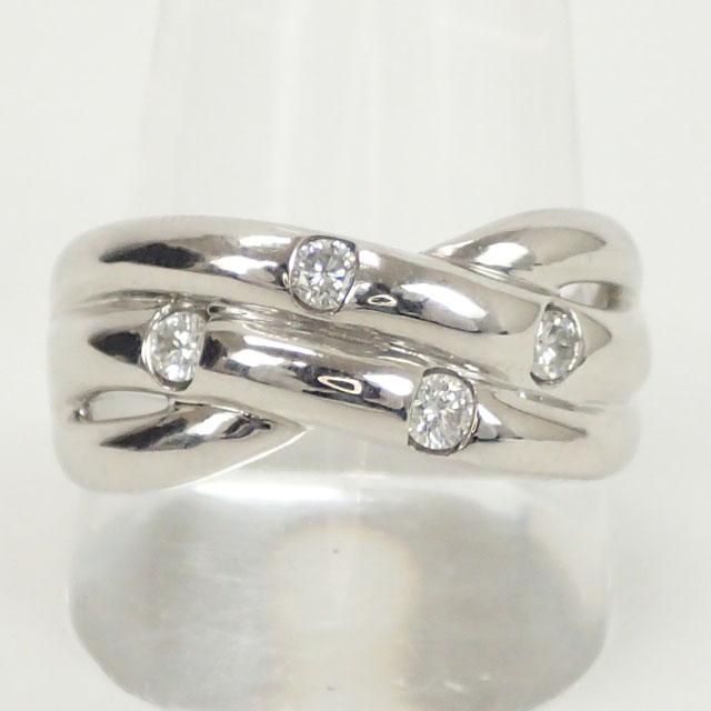【中古】【辛口評価】【Aランク】Pt900 デザインリング ダイヤ 0.26ct ゲージ棒約19.5号