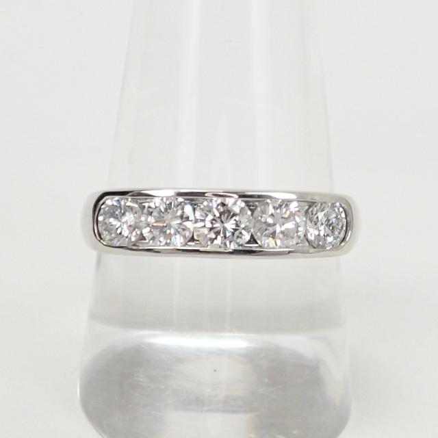 【中古】【辛口評価】【Aランク】Pt900 デザインリング ダイヤ 1.013ct ゲージ棒約15.5号