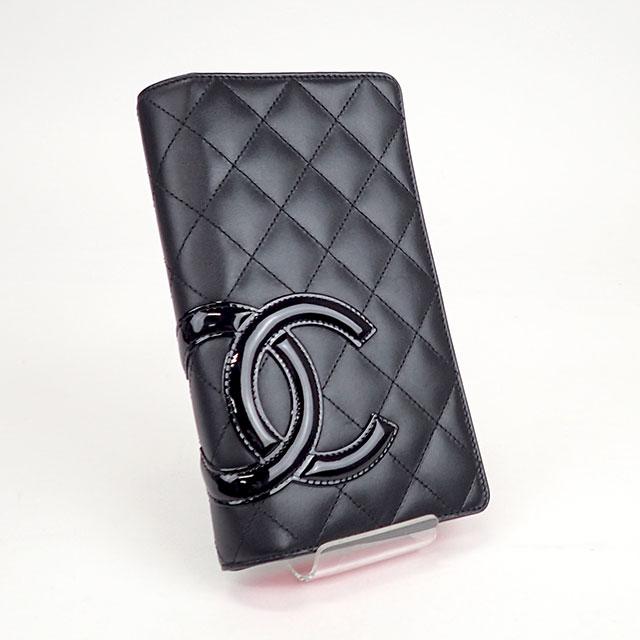 【中古】【辛口評価】【Aランク】CHANEL シャネル カンボンライン 二つ折り長財布 A26717 カーフスキン ブラック×ブラック
