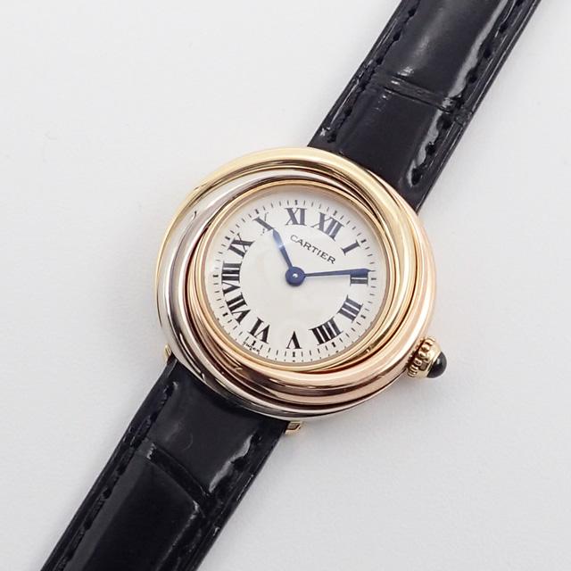 【中古】【辛口評価】【Aランク】Cartier カルティエ K18YG WG PG トリニティ 腕時計 W6000156 白文字盤 ブラックレザー