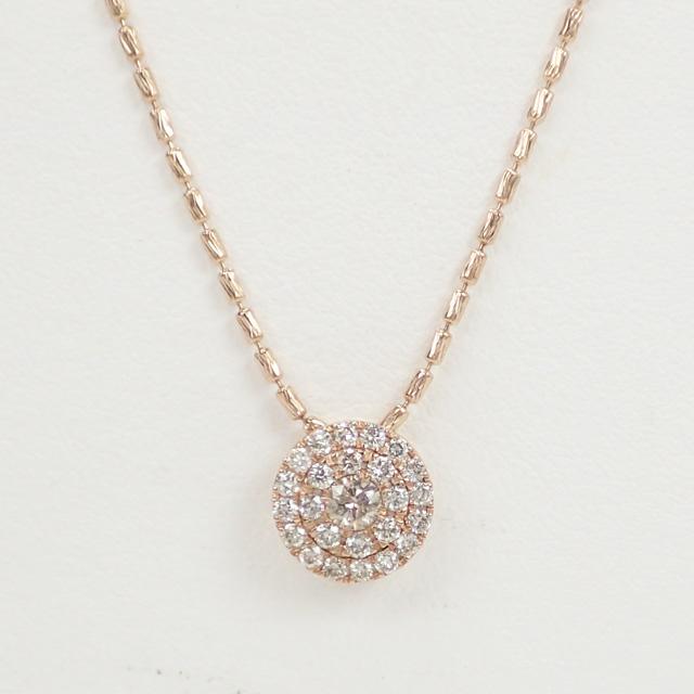 【中古】【辛口評価】【Aランク】K18PG ラウンドモチーフ デザインネックレス ダイヤ 0.50ct