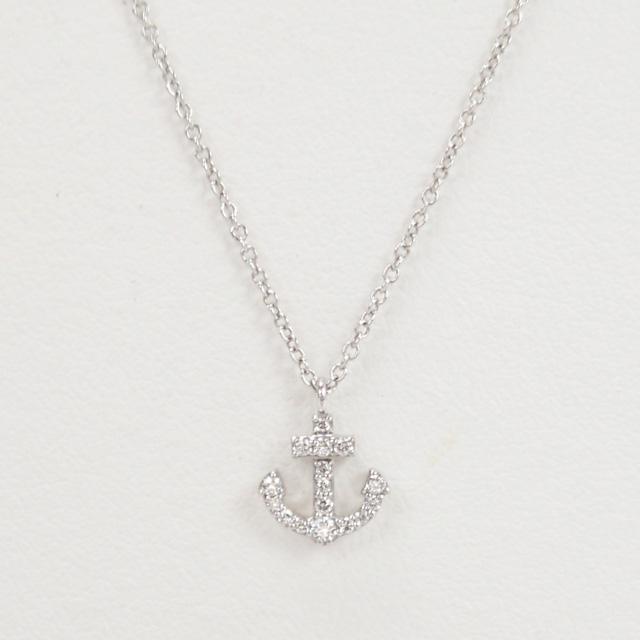 【中古】【辛口評価】【Aランク】Tiffany&Co. ティファニー K18WG メトロ アンカーミニ ネックレス ダイヤ