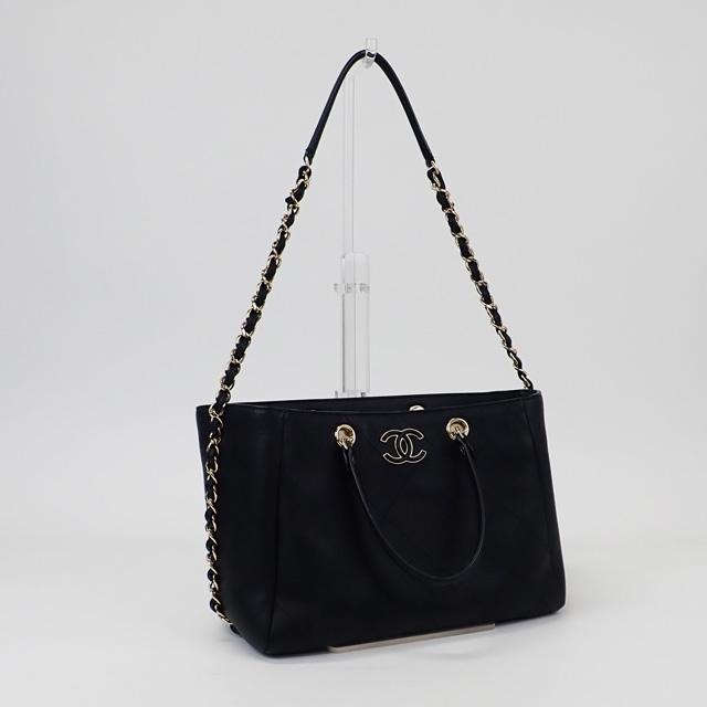 【中古】【辛口評価】【SAランク】CHANEL シャネル スモールショッピングバッグ 2WAYバッグ ブルスキン AS0355