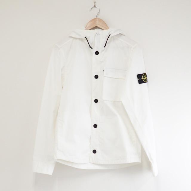 【中古】【辛口評価】【ABランク】STONE ISLAND ストーンアイランド シャツジャケットフーディー サイズS ホワイト