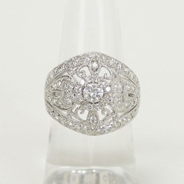 【中古】【辛口評価】【Aランク】Pt900 デザインリング ダイヤ 1.00ct ゲージ棒約11号