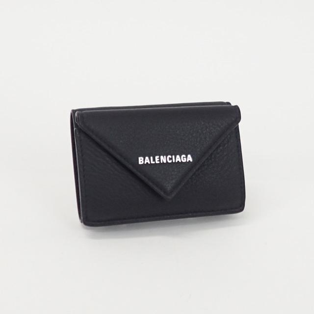 【中古】【辛口評価】【Sランク】BALENCIAGA バレンシアガ ペーパーミニウォレット 三つ折り財布 391446 DLQ0N 1000 ブラック