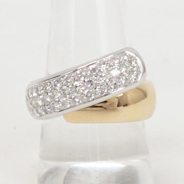【中古】【辛口評価】【Aランク】K18YG WG デザインリング ダイヤ 0.86ct ゲージ棒約14号