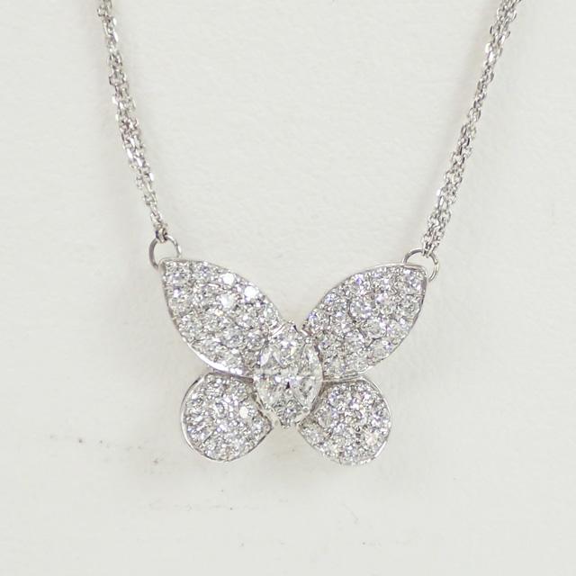 【中古】【辛口評価】【Aランク】K18WG 蝶モチーフ デザインネックレス ダイヤ 0.90ct