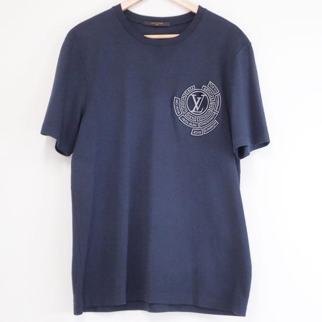 【中古】【辛口評価】【SAランク】LOUIS VUITTON ルイヴィトン Tシャツ サイズ XXL 綿100% ロゴワッペン ネイビー