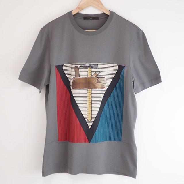 【中古】【辛口評価】【Aランク】LOUIS VUITTON コットン ルイヴィトン Tシャツ サイズL グレー