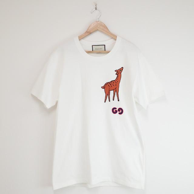 【中古】【辛口評価】【Aランク】GUCCI グッチ ディア パッチ オーバーサイズ Tシャツ サイズS 548334 XJBAV 9750 ホワイト シカ