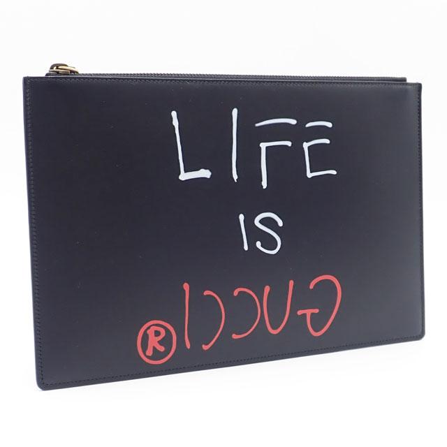 【中古】【辛口評価】【Sランク】GUCCI グッチ グッチゴースト LIFE IS GUCCI クラッチバッグ 445597 ブラック