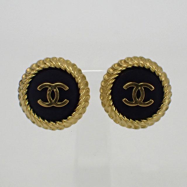 【中古】【辛口評価】【ABランク】CHANEL シャネル ココマークイヤリング ブラック×ゴールド 95P