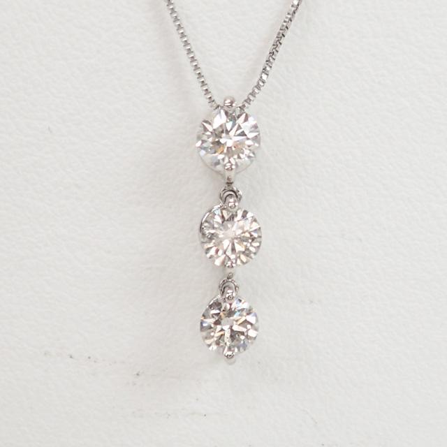 【中古】【辛口評価】【Aランク】Pt900/Pt850 デザインネックレス ダイヤ 1.00ct