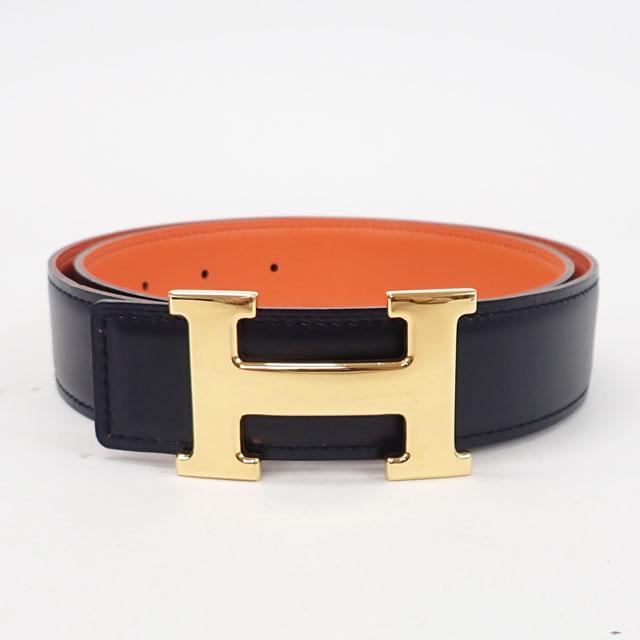 【中古】【辛口評価】【Aランク】HERMES エルメス Hベルト サイズ75 ボックスカーフ ブラック/オレンジ×ゴールド金具