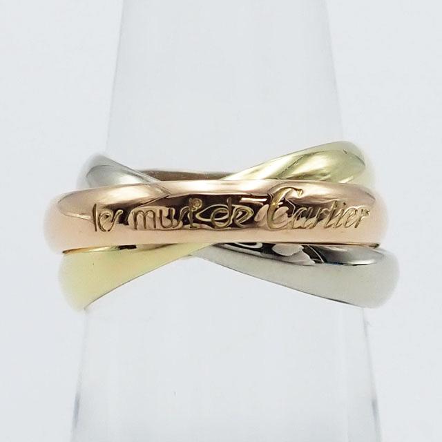 【中古】【辛口評価】【Aランク】Cartier カルティエ K18 YG PG WG トリニティ リング ゲージ棒約12号