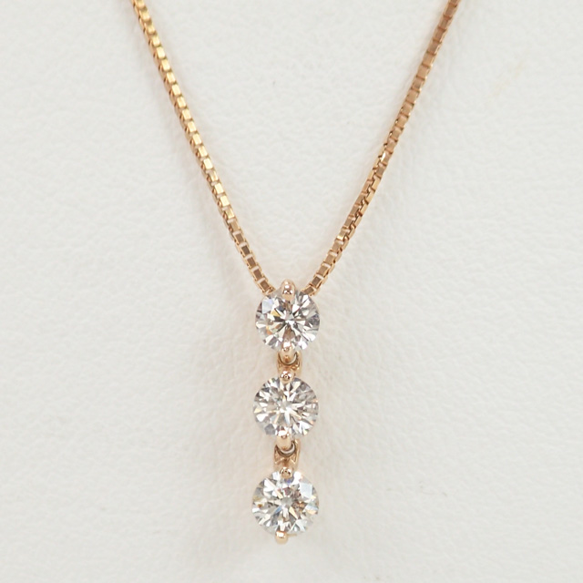 【中古】【辛口評価】【Aランク】K18PG デザインネックレス 3連ダイヤ ダイヤ0.50ct