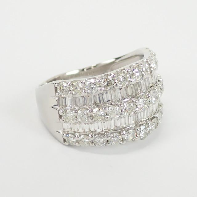 【中古】【辛口評価】【Aランク】Pt900 デザインリング ダイヤ 3.00ct ゲージ棒約19号