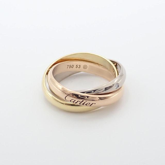 【楽ギフ_のし宛書】 【】【辛口評価】【Aランク】Cartier カルティエ K18 YG PG WG トリニティ リング 5Pダイヤ #53 ゲージ棒約13号 B4088500, 買いもんどころ fa2445d6