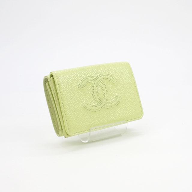 【中古】【辛口評価】【Aランク】CHANEL シャネル グレインドカーフ コンパクトウォレット 三つ折り財布 A70796 イエロー