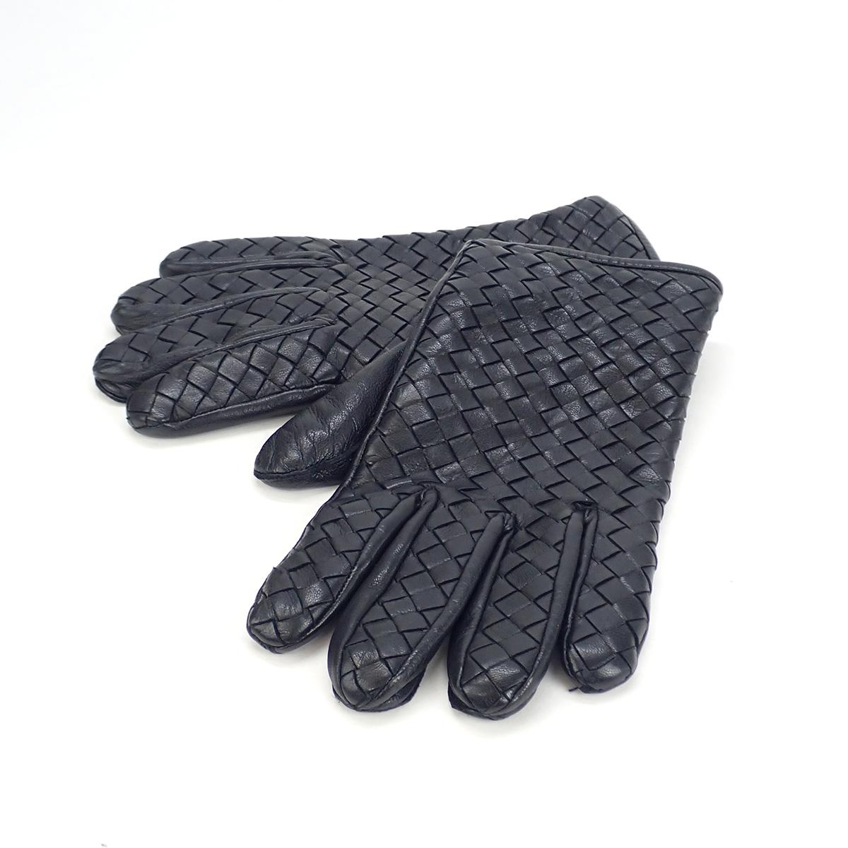 商品ランクB:小・中傷、使用感のある商品です。 【中古】【辛口評価】【Bランク】BOTTEGA VENETA ボッテガヴェネタ ソフトナッパ レザーグローブ 手袋 356651 V5100 イントレチャート ブラック