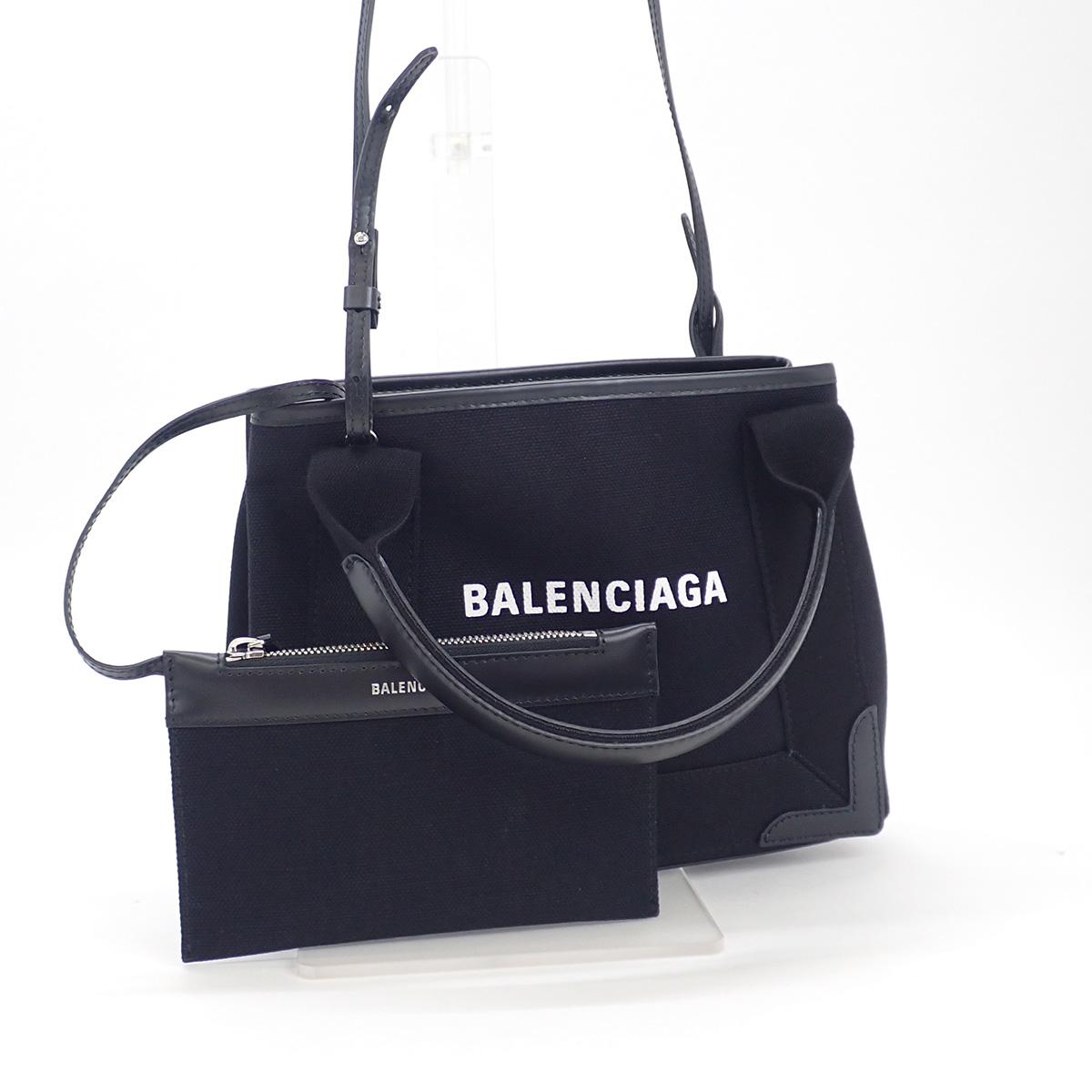 BALENCIAGA バレンシアガ ネイビーカバ XS 2WAYバッグ 390346 AQ38N 1000 キャンバス ブラック
