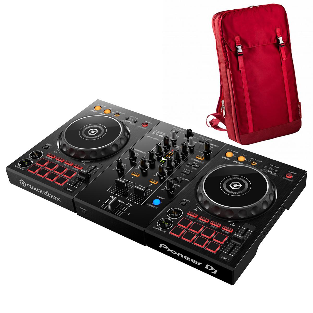 Pioneer DJ / DDJ-400 +MP-TB1-RD バックパックセット (レッド)【お取り寄せ商品】【渋谷店】
