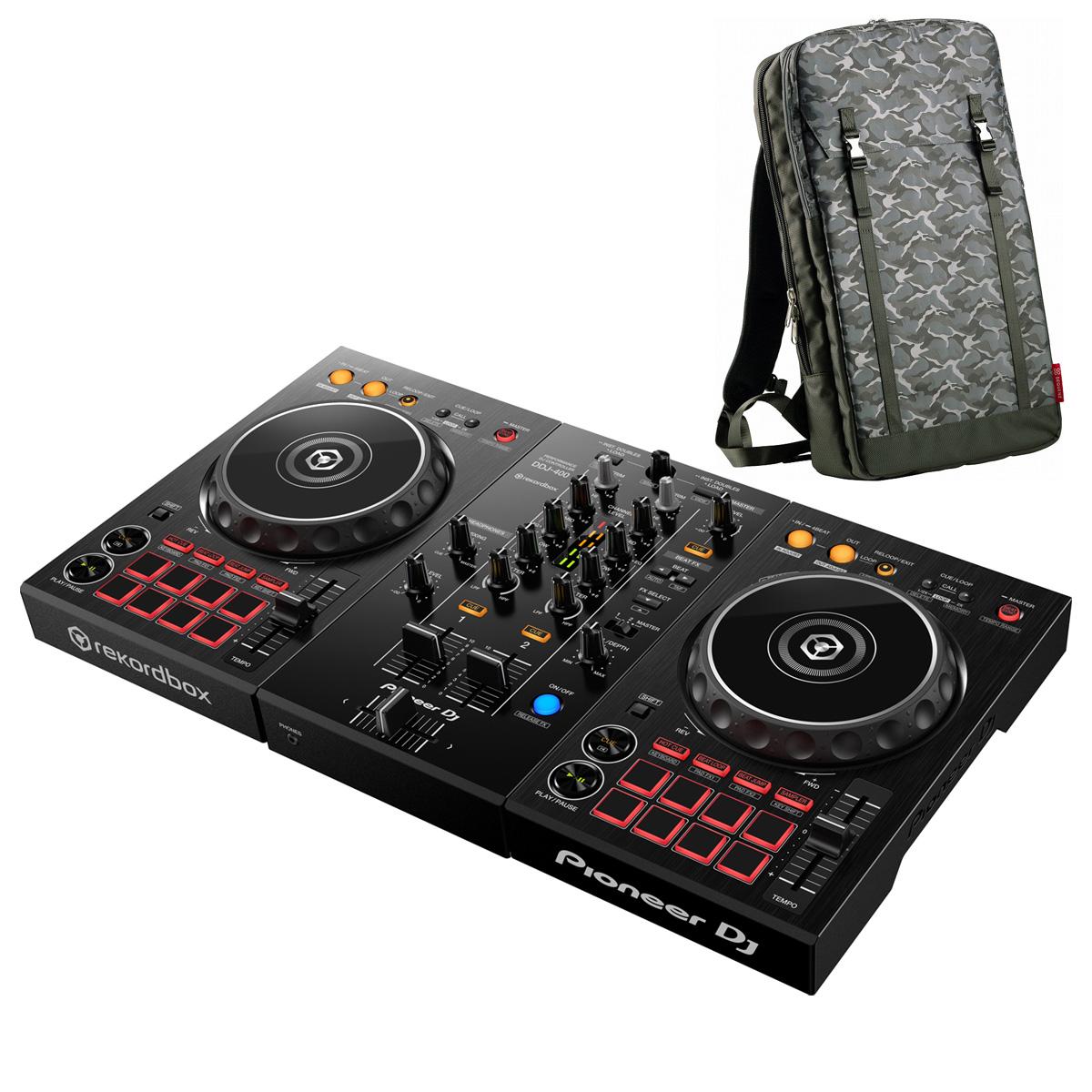 Pioneer DJ / DDJ-400 +MP-TB1-CAMO バックパックセット (カモフラージュ)【お取り寄せ商品】【渋谷店】