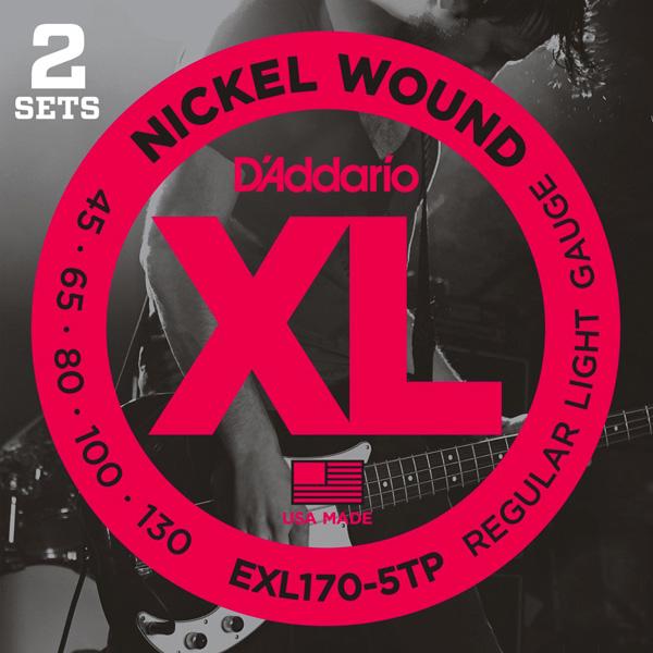 D'Addario / EXL170-5TP Twin Pack (2set Pack) Regular Light 45-130 Long Scale 5-Strings 【エレキベース弦】【Electric Bass Strings】【ダダリオ】【Daddario】【ロングスケール】【5弦ベース/5strings/5弦用】【ツインパック/2セット】【EXL-170-5TP】【新宿店】