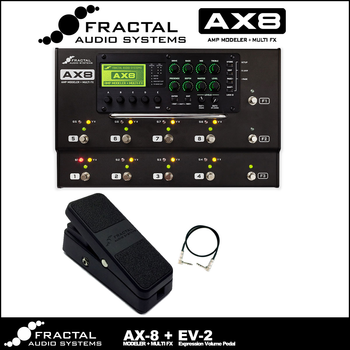 Fractal Audio Systems / AX8 + EV-2 Expression Volume Pedal +TRSケーブルセット【横浜店】