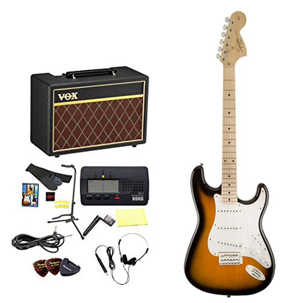 Squier by Fender / エレキギター入門セット Affinity Stratocaster Maple 2-Color Sunburst 【VOXアンプ&小物セット】 入門 初心者 【お取り寄せ商品】